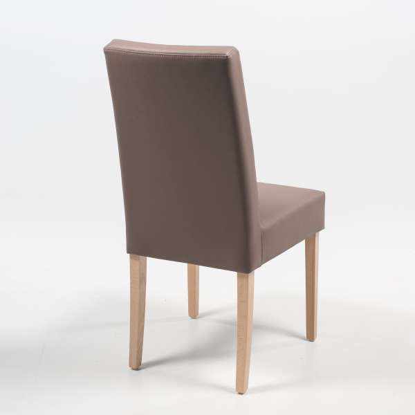 Chaise taupe en synthétique et pieds en bois massif - Gaby Mobitec® - 5