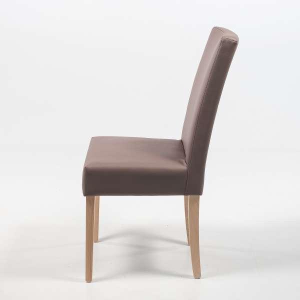 Chaise confortable Mobitec® en synthétique taupe et pieds en bois massif - Gaby - 8