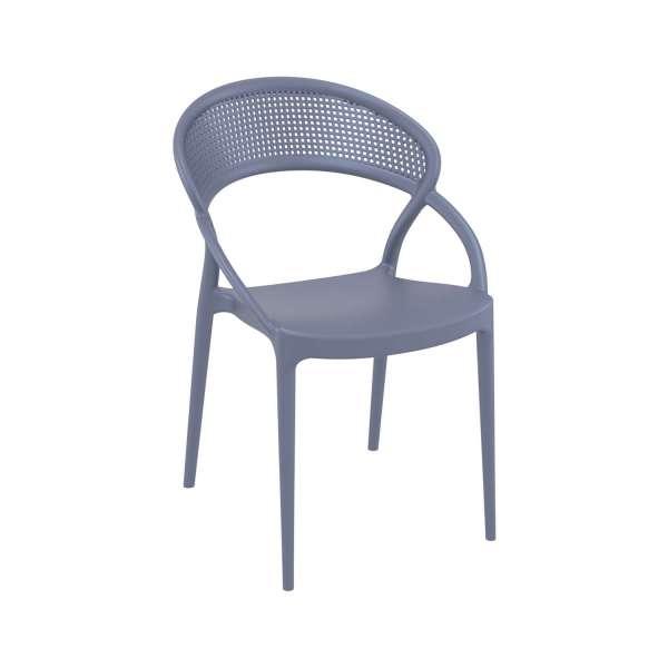 Chaise design empilable en polypropylène gris - Sunset - 12