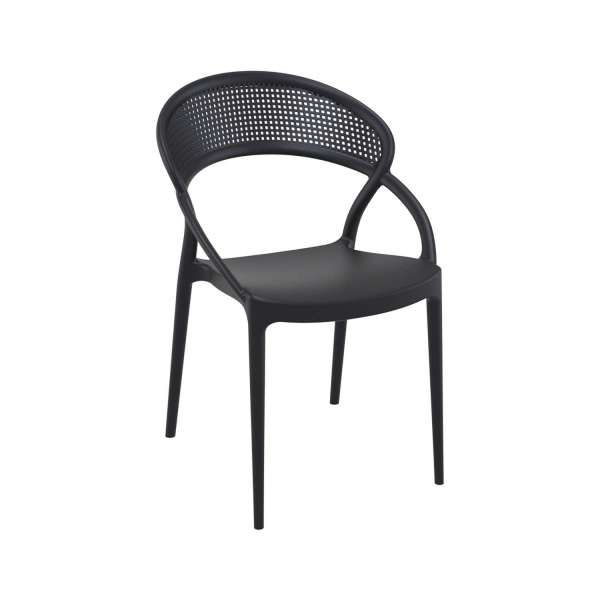 Chaise design de jardin empilable en polypropylène noir - Sunset - 3