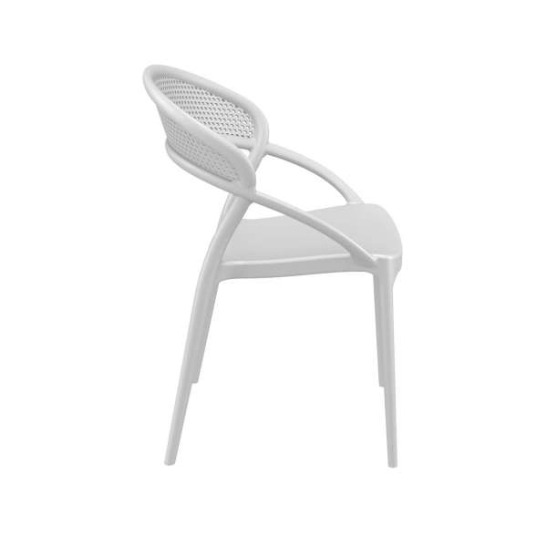 Chaise design de jardin empilable en plastique blanc - Sunset - 12