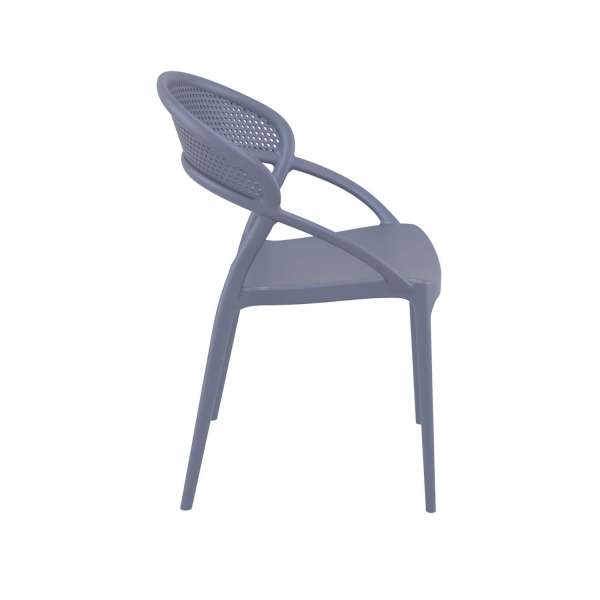 Chaise design de jardin empilable en plastique gris - Sunset - 10