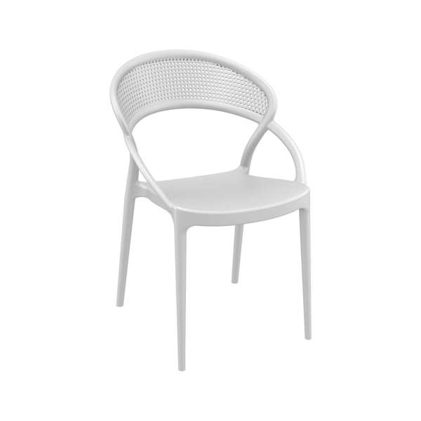 Chaise design de jardin empilable en polypropylène blanc - Sunset - 11