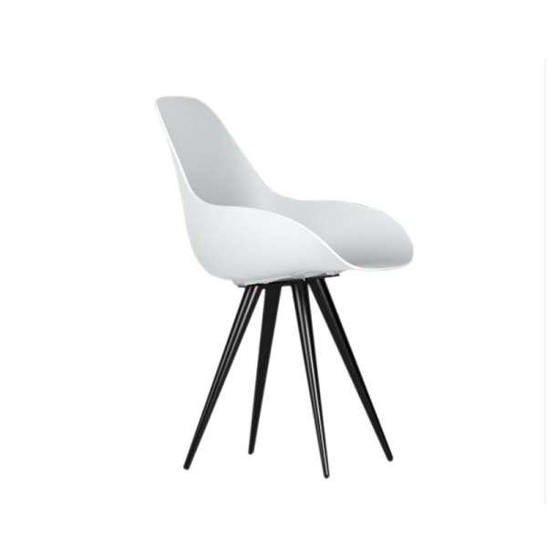 Chaise design en polypropylène avec coussin et métal noir - Angel Dimple closed Kubikoff®