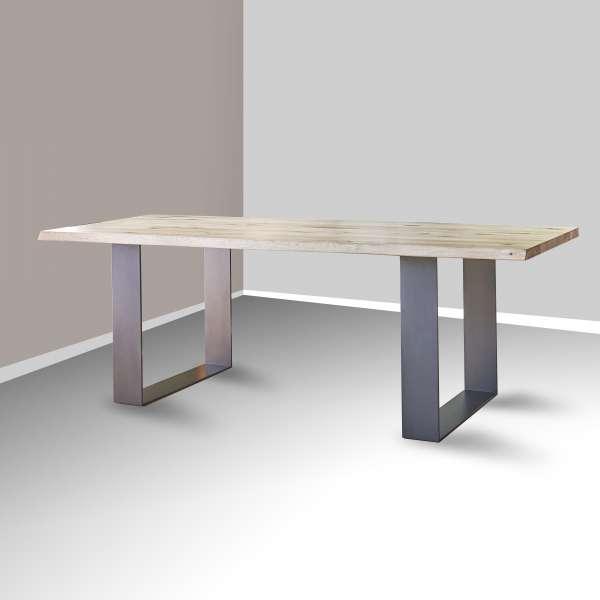 Table moderne en chêne massif et métal - Carte - 1