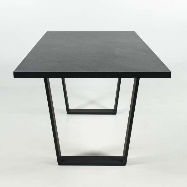 Table design en mélaminé ardoise avec pieds en traineau en métal anthracite - Trapani - 2