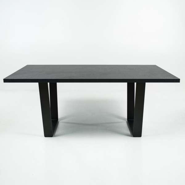 Table design en mélaminé gris avec pieds en traineau en métal anthracite - Trapani - 3