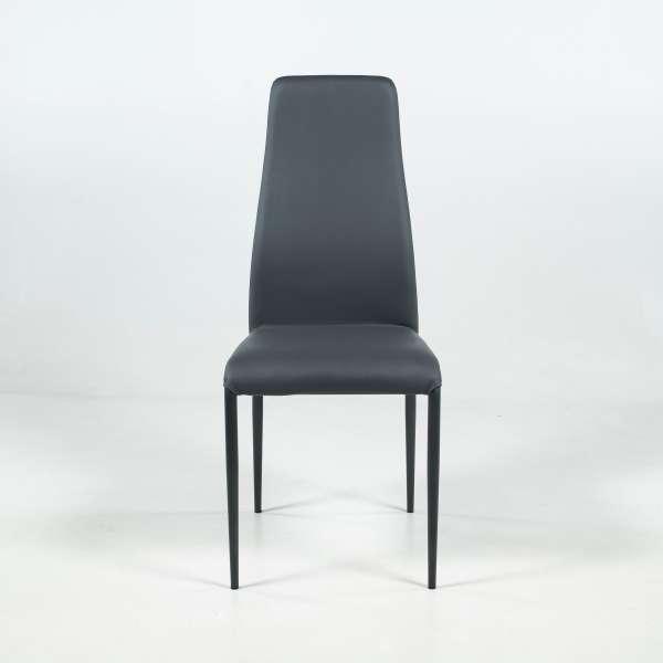 Chaise de salle à manger en synthétique anthracite et métal - Mirta - 2