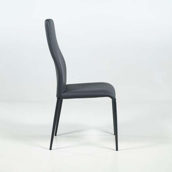 Chaise de salle à manger en synthétique gris anthracite et métal - Mirta - 3