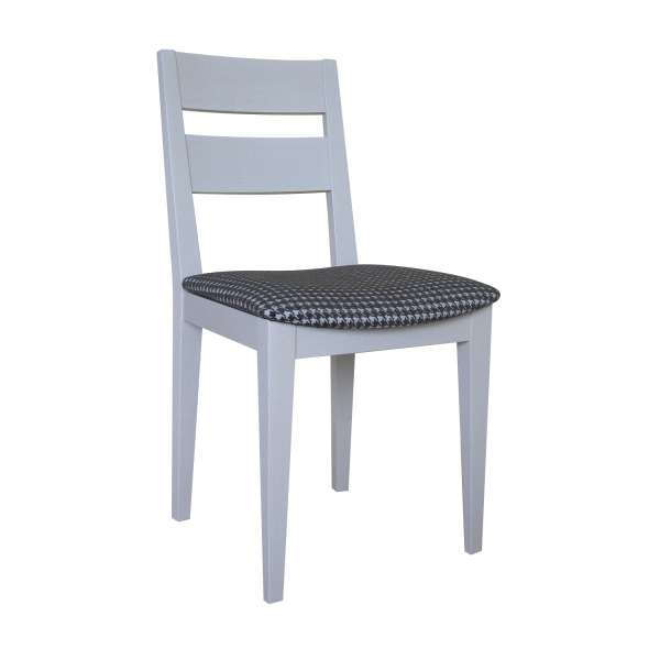 Chaise française de salle à manger en tissu Boston gris 21 et chêne massif - Ophély - 3