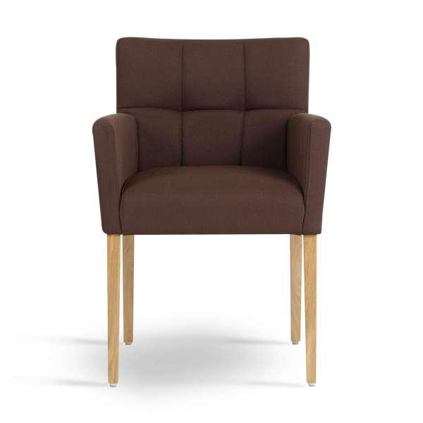 Fauteuil de séjour en bois et tissu marron - Carré Mobitec® - 2