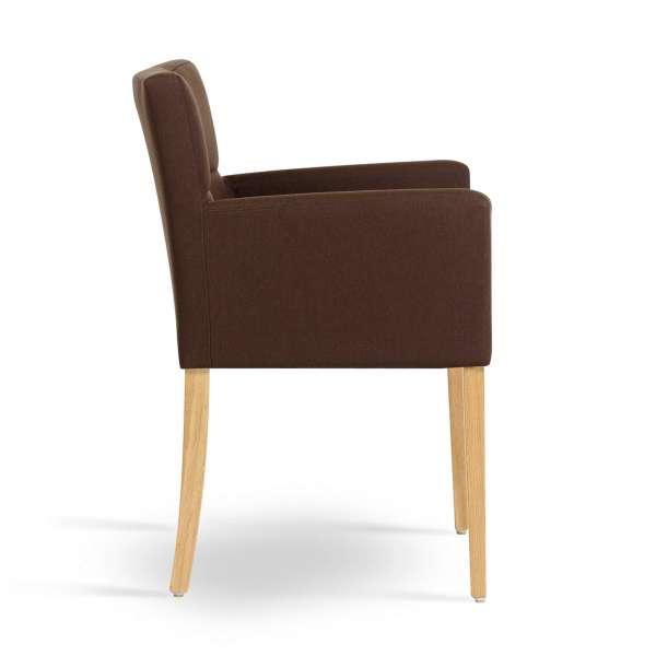 Fauteuil de salle à manger en tissu marron et pieds en bois - Carré Mobitec® - 3