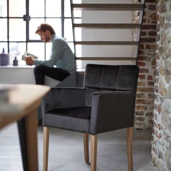 Fauteuil noir pour salle à mange et séjour - Carré Mobitec® - 6