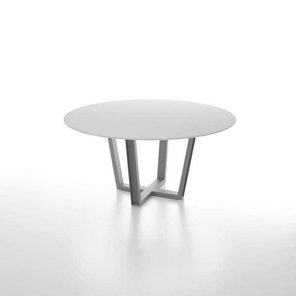 Table design ronde en verre blanc avec pieds en métal - Viktor - 1