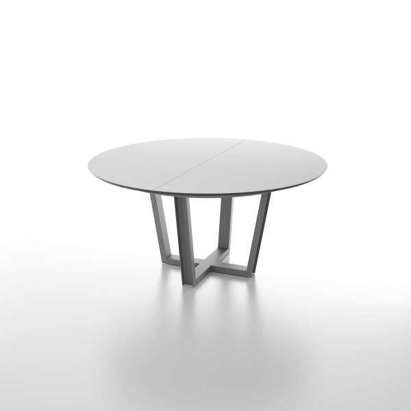 Table Ronde Extensible Avec Plateau En Verre Et Piétement Design   Viktor