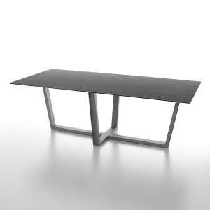 Table rectangulaire design en céramique noire et pieds en métal - Viktor