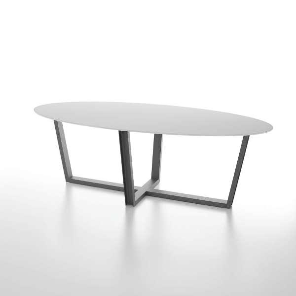 Table design en verre ovale avec pieds en métal modernes - Viktor - 1