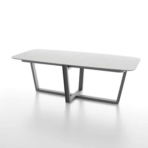 Table tonneau en verre design et piétement métallique moderne - Viktor - 1