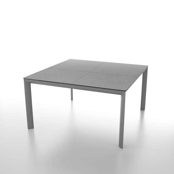 Table carrée contemporaine en céramique gris et pieds en métal - Cocoon - 1