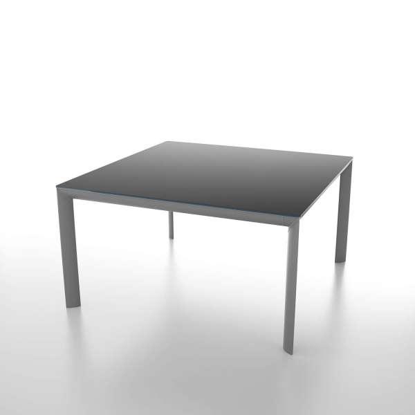 Table carrée contemporaine en verre noir et métal gris - Cocoon - 1