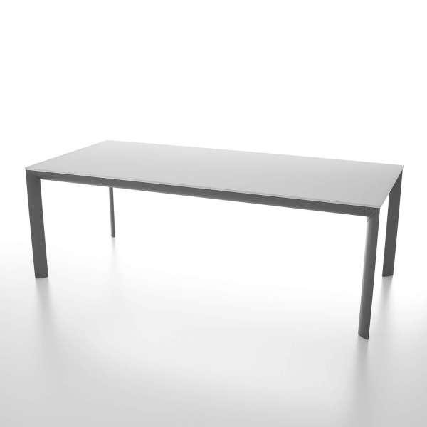 Table contemporaine rectangulaire plateau en verre et pieds en métal - Cocoon - 1