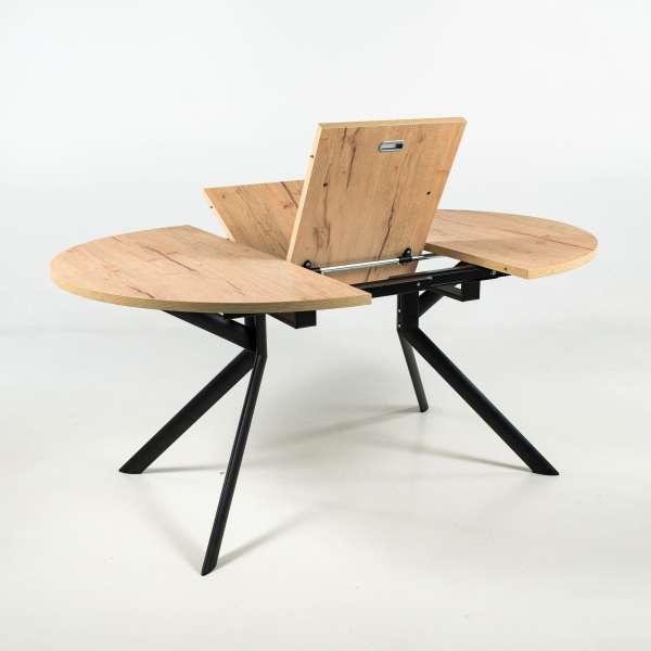 Table ronde extensible en mélaminé P49W pieds métalliques coloris noir- Giove Connubia® - 7
