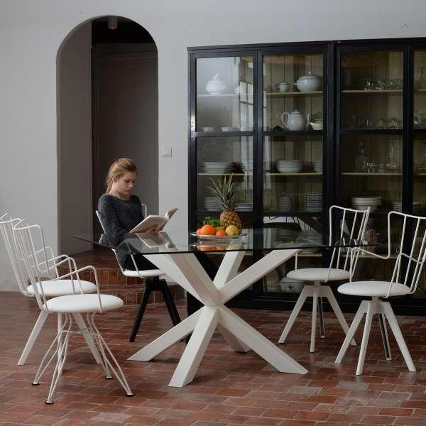 Chaise pivotante blanche design en synthétique et métal - Well  - 5
