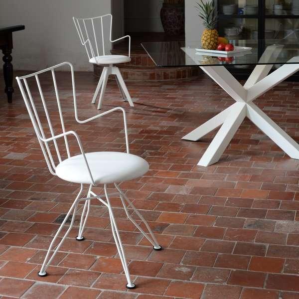 Chaise design en synthétique et métal blanc - Well - 4