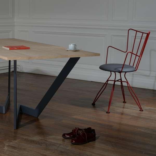 Chaise design rouge en synthétique et métal - Well - 3
