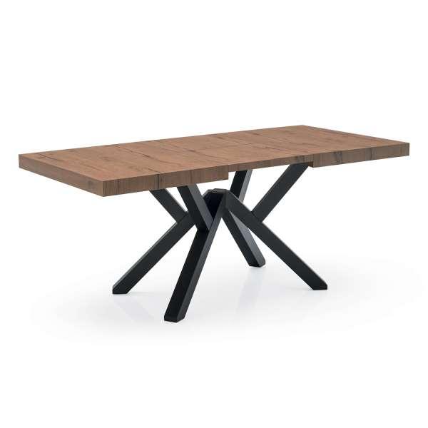 Table extensible design en mélaminé effet bois avec pieds en hêtre laqué - Mikado Connubia© - 4