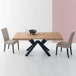 Table avec allonge design en mélaminé avec pieds en hêtre laqué - Mikado Connubia©
