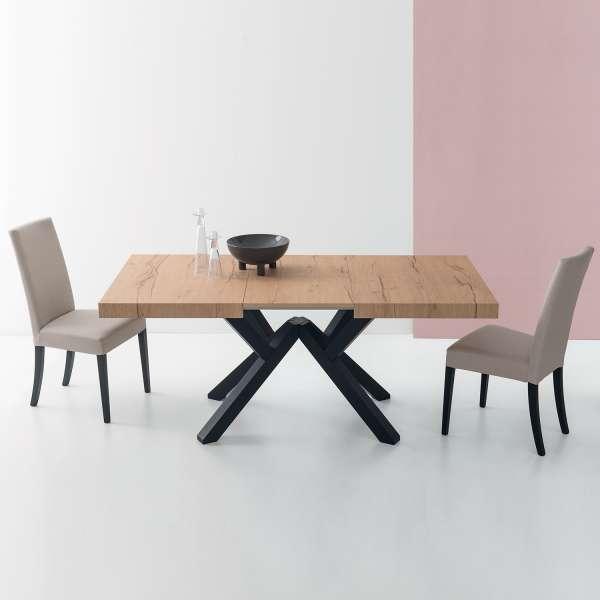 Table avec allonge design en mélaminé avec pieds en hêtre laqué - Mikado Connubia© - 1