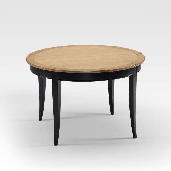 Table de style ronde et extensible en bois pieds noirs plateau chêne blanchi - Clémence - 1