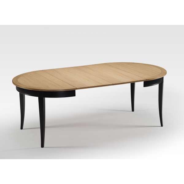 Table de style ronde et avec allonges en bois - Clémence - 2