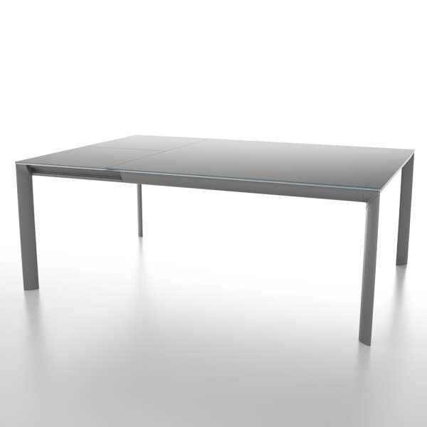 Table carrée avec allonge en verre trempé noir et métal - Cocoon - 2