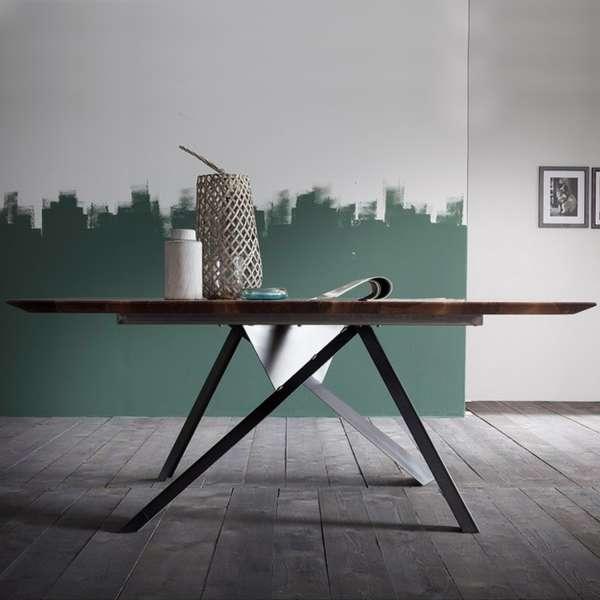 Table design industriel carrée en bois massif avec pieds en métal finition industrielle - Toledo - 3