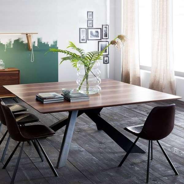 Table carrée en bois massif avec pieds en métal finition industrielle - Toledo - 2