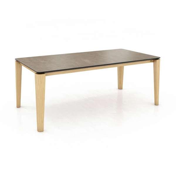 Table contemporaine plateau en céramique et pieds arrondis en bois - Oxford Mobitec® - 1