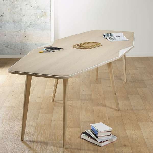 Grande table de séjour scandinave en bois blanchi française liseré blanc - Flo - 1