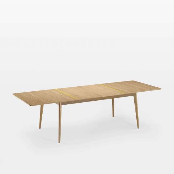 Table en bois scandinave avec allonges  fabriquée en France avec liseré coloré - Paul - 4