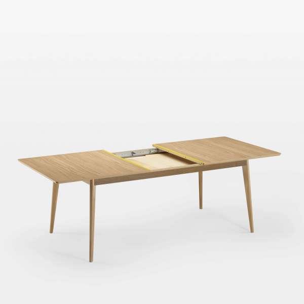 Table avec allonges en bois scandinave fabriquée en France avec liseré coloré - Paul - 3