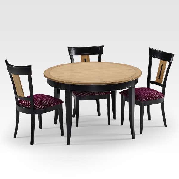 Table de style ronde et extensible en bois - Clémence - 5