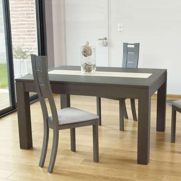 Table contemporaine en bois extensible avec chemin de table en céramique - MRC410 - 1