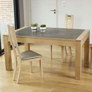 Table contemporaine extensible en céramique et bois made in France - MRC41