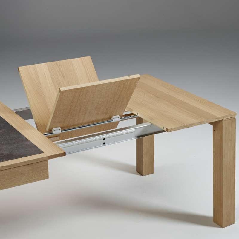Table Contemporaine En Ceramique Et Bois Avec Allonges Made In