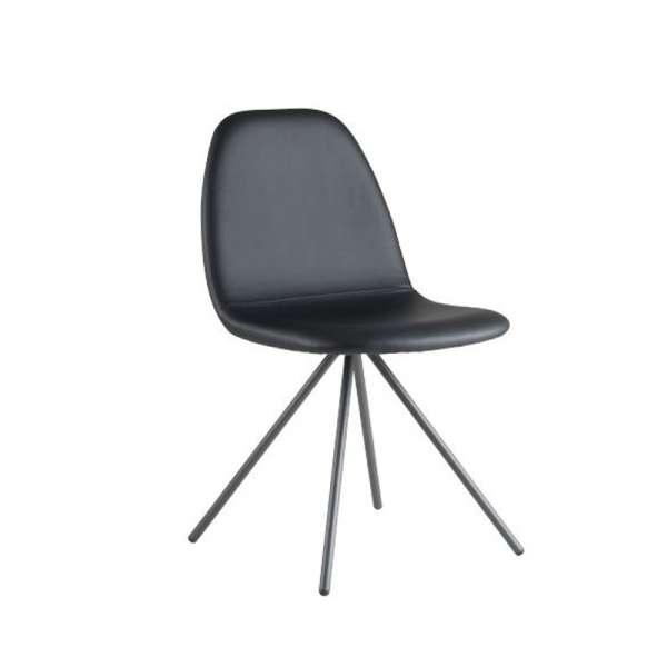 Chaise design en synhétique noir et métal anthracite - Kube - 1