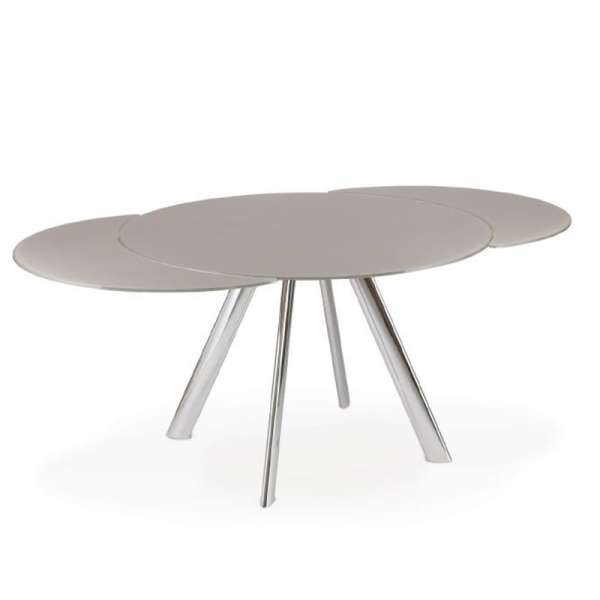 Table ronde moderne extensible en verre avec pieds en métal - Myles - 1