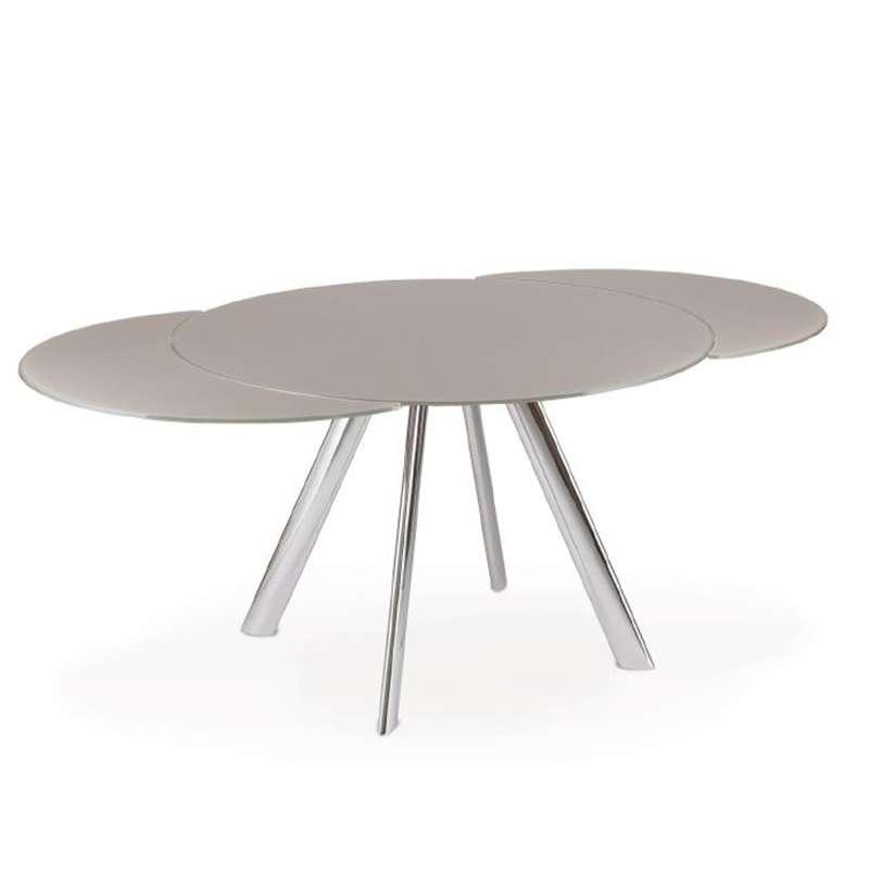 Table En Verre Ronde Extensible: Table Ronde Moderne Extensible En Verre Avec Pieds En