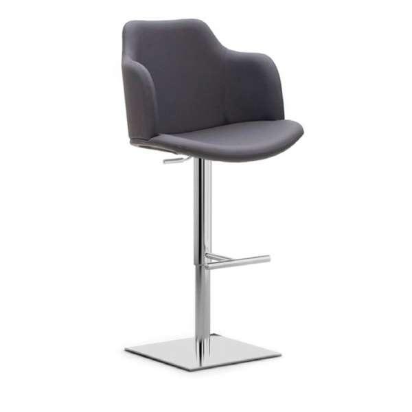 Tabouret réglable en hauteur et pivotant avec accoudoirs gris et chromé - Glamour P - 1