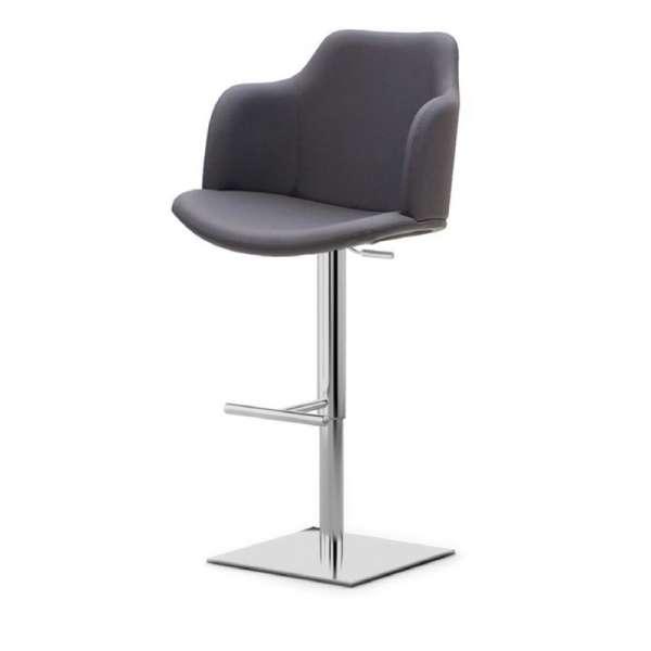 Tabouret gris pivotant et réglable en hauteur avec accoudoirs pied chromé - Glamour P - 2